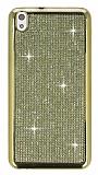 Eiroo HTC Desire 816 Taşlı Gold Silikon Kılıf