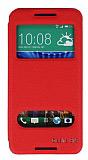 Eiroo HTC Desire 816 Vantuzlu Pencereli Kırmızı Deri Kılıf