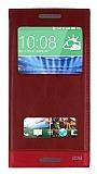 HTC Desire 820 Gizli Mıknatıslı Çift Pencereli Kırmızı Kılıf