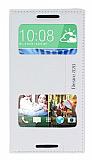Eiroo HTC Desire 820 Gizli Mıknatıslı Çift Pencereli Beyaz Kılıf