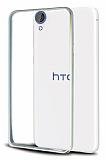 Eiroo HTC Desire 820 Gold Çizgili Metal Bumper Silver Çerçeve Kılıf