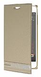 HTC Desire 825 / Desire 10 Lifestyle Gizli Mıknatıslı Yan Kapaklı Gold Deri Kılıf