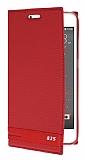 HTC Desire 825 / Desire 10 Lifestyle Gizli Mıknatıslı Yan Kapaklı Kırmızı Deri Kılıf