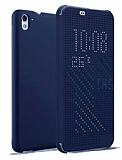 Eiroo HTC Desire 826 Dot View Uyku Modlu İnce Yan Kapaklı Lacivert Kılıf