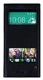 Eiroo HTC Desire 826 Gizli Mıknatıslı Çift Pencereli Siyah Deri Kılıf