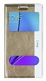 Samsung Galaxy Note 5 Gizli Mıknatıslı Çift Pencereli Gold Deri Kılıf