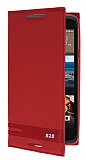 HTC Desire 828 Gizli Mıknatıslı Yan Kapaklı Kırmızı Deri Kılıf