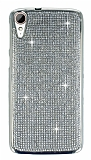 Eiroo HTC Desire 828 Taşlı Silver Silikon Kılıf