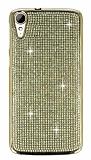 Eiroo HTC Desire 828 Taşlı Gold Silikon Kılıf