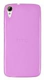 Eiroo HTC Desire 828 Ultra İnce Şeffaf Pembe Silikon Kılıf