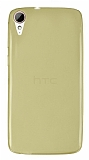 HTC Desire 828 Ultra İnce Şeffaf Gold Silikon Kılıf