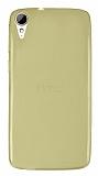 Eiroo HTC Desire 828 Ultra İnce Şeffaf Gold Silikon Kılıf