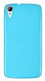 Eiroo HTC Desire 828 Ultra İnce Şeffaf Mavi Silikon Kılıf