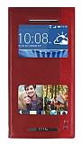HTC Desire Eye Gizli Mıknatıslı Pencereli Kırmızı Deri Kılıf