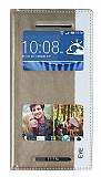 HTC Desire Eye Gizli Mıknatıslı Pencereli Gold Deri Kılıf