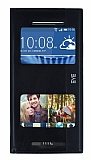 HTC Desire Eye Gizli Mıknatıslı Pencereli Siyah Deri Kılıf