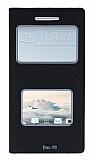 HTC One A9 Gizli Mıknatıslı Çerçeveli Siyah Deri Kılıf