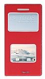 HTC One A9 Gizli Mıknatıslı Çerçeveli Kırmızı Deri Kılıf