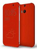 Eiroo HTC One M8 Dot View Uyku Modlu İnce Yan Kapaklı Kırmızı Kılıf