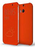 Eiroo HTC One M8 Dot View Uyku Modlu İnce Yan Kapaklı Turuncu Kılıf