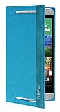 HTC One E8 Gizli Mıknatıslı Yan Kapaklı Mavi Kılıf