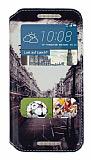 Eiroo HTC One M9 Gizli M�knat�sl� Pencereli London Deri K�l�f