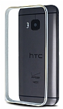 Eiroo HTC One M9 Gold Çizgili Round Metal Bumper Çerçeve Silver Kılıf