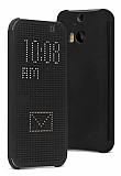 Eiroo HTC One M9 Plus Dot View Uyku Modlu İnce Yan Kapaklı Siyah Kılıf