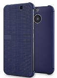 Eiroo HTC One M9 Plus Dot View Uyku Modlu İnce Yan Kapaklı Mavi Kılıf