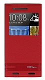 HTC One M9 Plus Gizli Mıknatıslı Pencereli Kırmızı Deri Kılıf