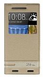 HTC One M9 Plus Gizli Mıknatıslı Pencereli Gold Deri Kılıf