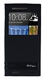 HTC One M9 Plus Gizli Mıknatıslı Pencereli Siyah Deri Kılıf