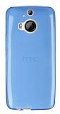 HTC One M9 Plus Ultra İnce Şeffaf Mavi Silikon Kılıf