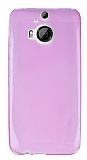 HTC One M9 Plus Ultra İnce Şeffaf Pembe Silikon Kılıf