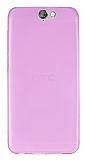 HTC One A9 Ultra İnce Şeffaf Pembe Silikon Kılıf