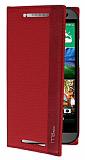 Eiroo HTC One Mini 2 Gizli M�knat�sl� �nce Yan Kapakl� K�rm�z� Deri K�l�f