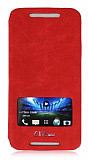 Eiroo HTC One mini Pencereli �nce Yan Kapakl� K�rm�z� Deri K�l�f
