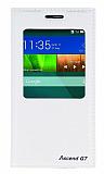 Huawei Ascend G7 Gizli Mıknatıslı Uyku Modlu Beyaz Kılıf