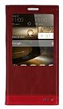 Huawei Ascend Mate 7 Gizli Mıknatıslı Pencereli Kırmızı Deri Kılıf