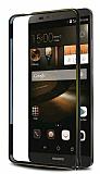 Eiroo Huawei Ascend Mate 7 Gold Çizgili Siyah Metal Bumper Kılıf
