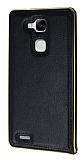 Eiroo Huawei Ascend Mate 7 Metal Kenarlı Siyah Deri Kılıf
