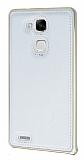 Eiroo Huawei Ascend Mate 7 Metal Kenarlı Beyaz Deri Kılıf