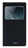 Huawei Ascend Mate S Gizli Mıknatıslı Çerçeveli Siyah Deri Kılıf