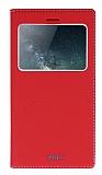 Huawei Ascend Mate S Gizli Mıknatıslı Çerçeveli Kırmızı Deri Kılıf