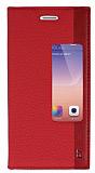 Huawei Ascend P7 Gizli Mıknatıslı Pencereli Kırmızı Kılıf