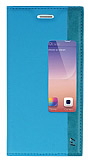 Huawei Ascend P7 Gizli Mıknatıslı Pencereli Mavi Kılıf