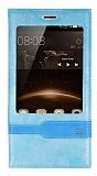 Huawei G8 Gizli Mıknatıslı Pencereli Mavi Deri Kılıf