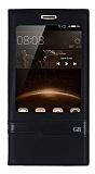 Huawei G8 Gizli Mıknatıslı Pencereli Siyah Deri Kılıf