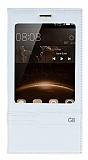 Huawei G8 Gizli Mıknatıslı Pencereli Beyaz Deri Kılıf