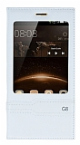 Eiroo Huawei G8 Gizli M�knat�sl� Pencereli Beyaz Deri K�l�f